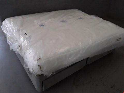 Lot 5295 BAGGED 180CM MATTRESS ON A GREY FABRIC DRAWERED DIVAN BASE