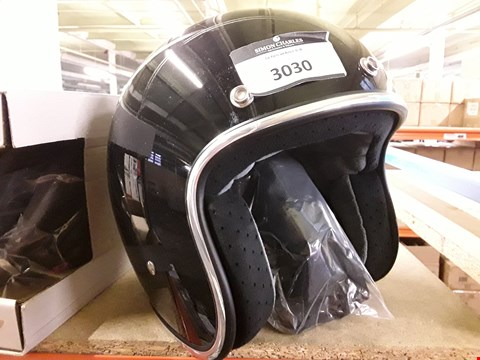 Lot 3030 BONANZA BLACK OPEN FACE MOTORCYCLE HELMET SIZE SMALL