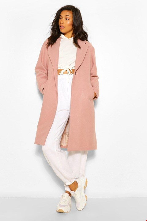 Lot 7005 BRAND NEW BOOHOO LUXE BRUSHED WOOL LOOK COAT DUSKY PINK UK SIZE 12