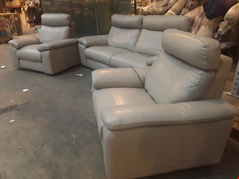 Lot 9031 QUALITY ITALIAN DESIGNER MERRY GREY LEATHER POWER RECLINING LOUNGE SUITE, COMPRISING THREE-SEATER SOFA AND PAIR OF EASY CHAIRS