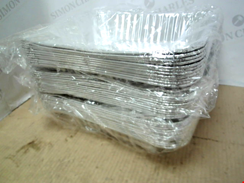 Lot 10691 LOT OF APPROXIMATELY 45 FOIL BAKING TRAYS AND 6 PACKS OF 18 FOAM PUZZLE PLAY MAT TOYS