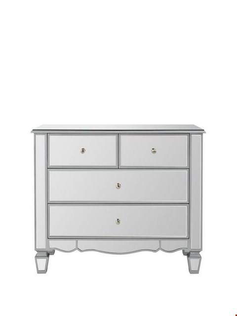 Lot 11 BOXED DESIGNER MIRAGE MIRRORED 2+2 DRAWER CHEST (1 BOX) RRP £199