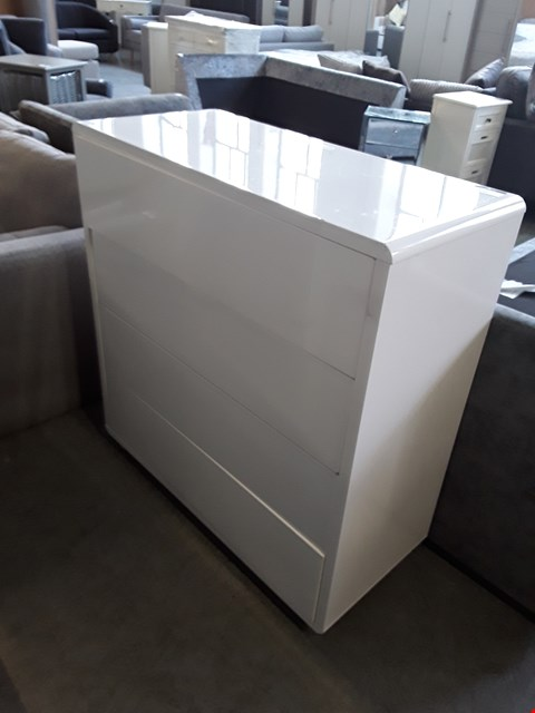 Lot 326 DESIGNER WHITE GLOSS 4 DRAWER CHEST