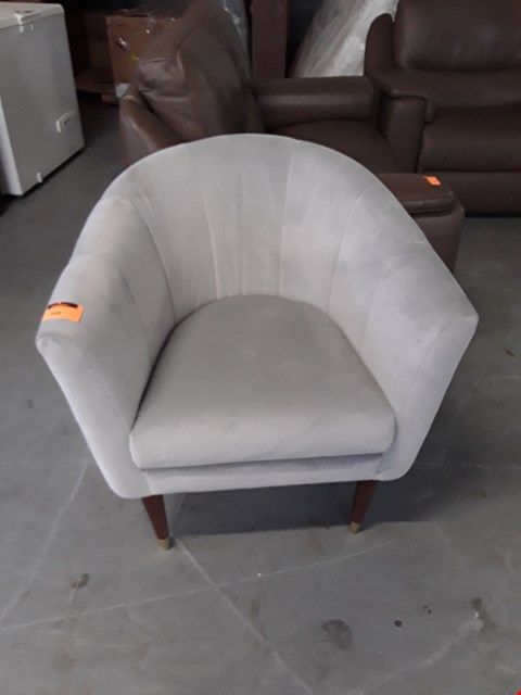 Lot 210 QUALITY BRITISH DESIGNER SILVER PLUSH VELVET TUB CHAIR ON ATOMIC STYLE LEGS