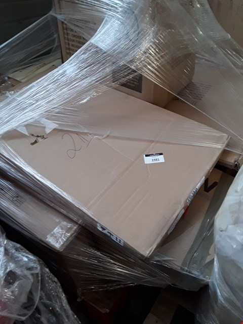 Lot 2481 PALLET OF ASSORTED FLAT PACK FURNITURE PARTS TO INCLUDE BED PARTS ETC