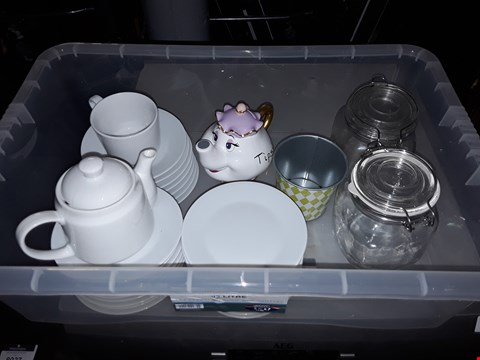 Lot 8061 BOX OF APPROXIMATELY 30 ASSORTED ITEMS TO INCLUDE TEA POTS, SAUCERS, SEALED JARS AND A MUG