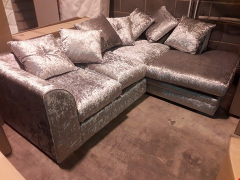 Lot 108 DESIGNER CRUSHED SILVER VELVET CHAISE SOFA WITH SCATTER CUSHIONS