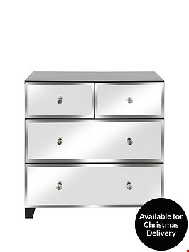 Lot 2015 BOXED GRADE 1 BLACK/MIRROR 2+2 DRAWER CHEST (1 BOX) RRP £269.99