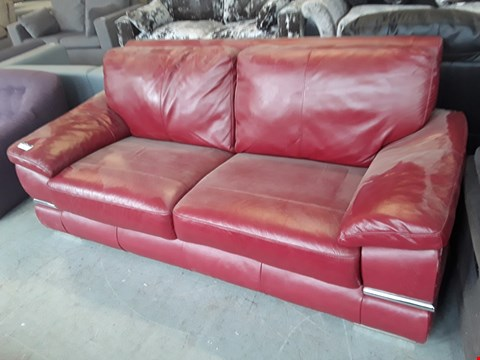 Lot 45 DESIGNER RED LEATHER 3 SEATER SOFA WITH CHROME DETAILING