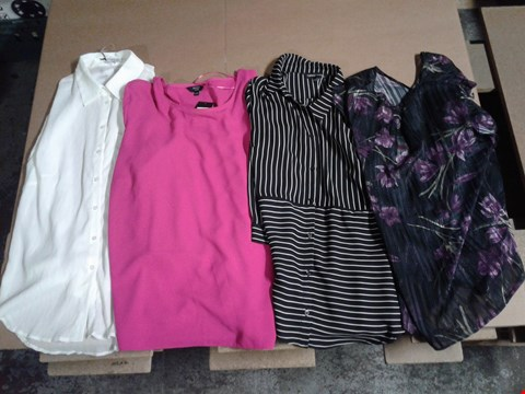 Lot 9314 BOX OF APPROXIMATELY 40 ASSORTED WOMEN'S CLOTHING ITEMS TO INCLUDE GC CRINKLE BLOUSE - WHITE, FRILL SLEEVE BLOUSE - HOT PINK, STRIPE SHIRT - BLACK STRIPE, BIB BLOUSE - BLACK PRINT