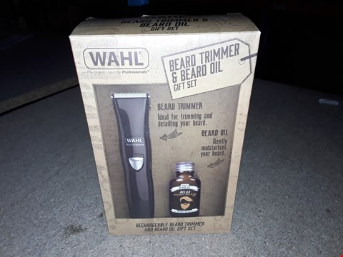 Lot 265 WAHL BEARD TRIMMER & BEARD OIL GIFT SET WITH RECHARGEABLE TRIMMER
