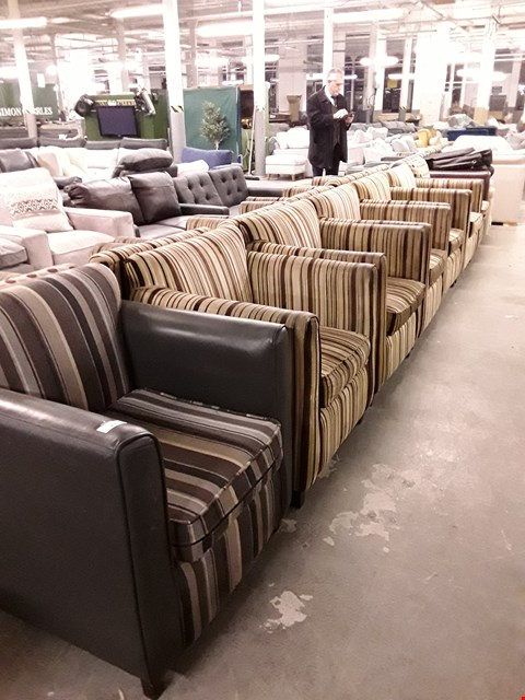 Lot 10076 LOT OF APPROXIMATELY 7 ASSORTED FABRIC AND FAUX LEATHER ARMCHAIRS