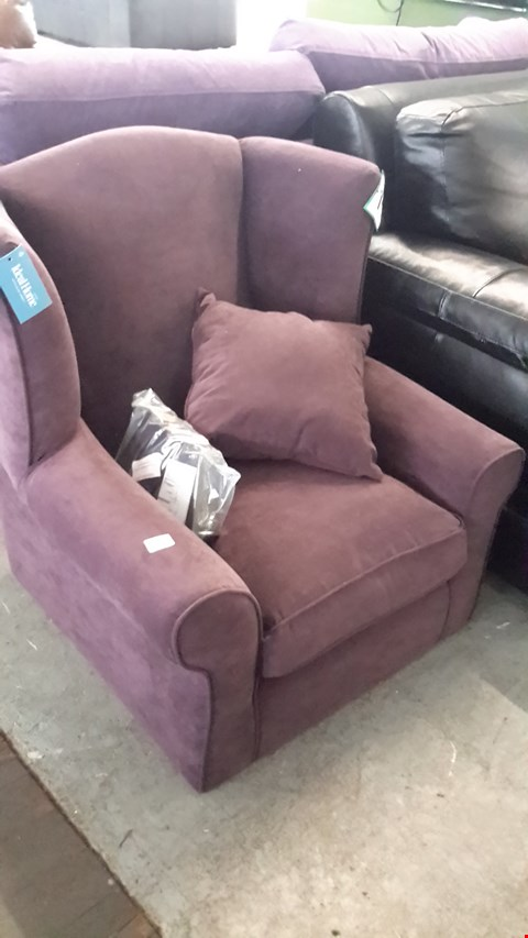 Lot 4 DESIGNER PURPLE FABRIC WING BACK ARMCHAIR