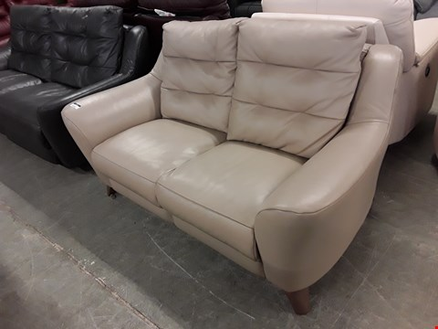 Lot 12512 QUALITY BRITISH MADE, HARDWOOD FRAMED LATTE LEATHER 2 SEATER SOFA