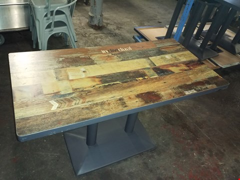 Lot 300 BRAND NEW RUSTIC LOOK CAFE STYLE DINING TABLE WITH DECAL OVERLAY APPROXIMATELY 120X60CM