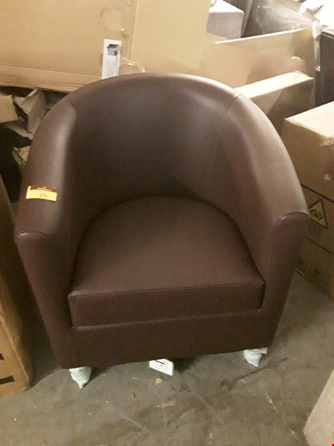 Lot 25 DESIGNER BROWN FAUX LEATHER TUB CHAIR