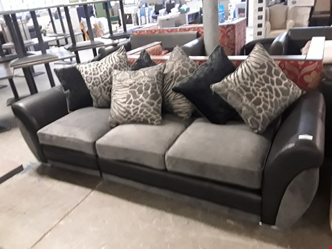 Lot 191 TWO DESIGNER BLACK FAUX LEATHER AND GREY FABRIC SOFA SECTIONS WITH SCATTER BACK CUSHIONS
