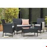 Lot 33 MALIBU 4 PIECE RATTAN SET - BLACK & GREY