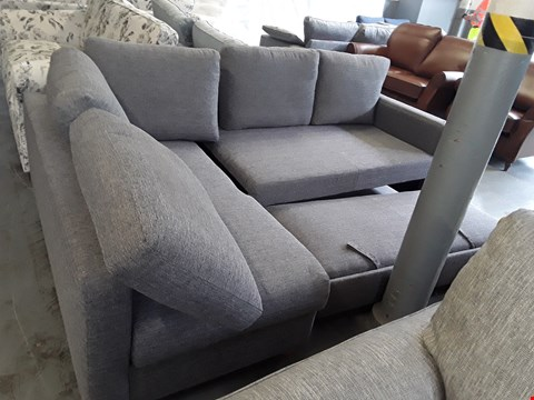 Lot 2012 QUALITY BRITISH DESIGNER GREY FABRIC CORNER SOFA WITH TRUNDLE BED AND STORAGE