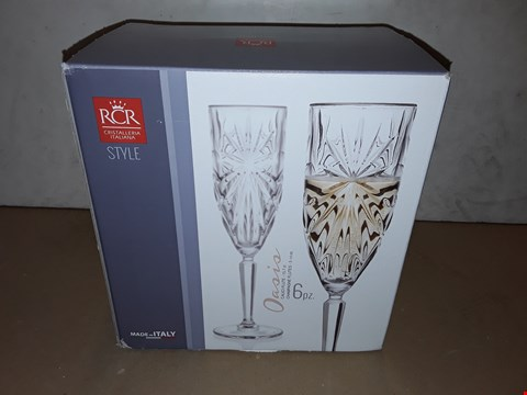 Lot 8021 BOXED SET OF 6 RCR OASIS CHAMPAGNE FLUTES - 15.7C