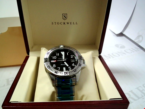 Lot 3292 DESIGNER STOCKWELL AUTOMATIC WATCH STAINLESS STRAP AND BLACK DIAL RRP £625.00