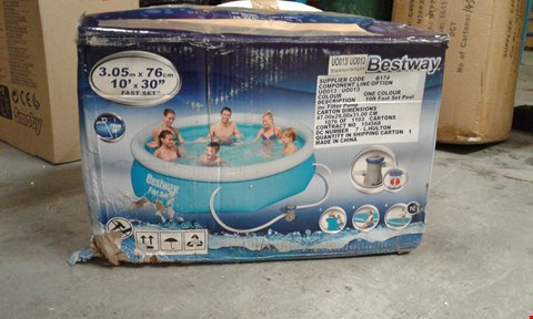 Lot 7614 GRADE 1 BESTWAY 10FT POOL FAST SET BLUE RRP £169.00