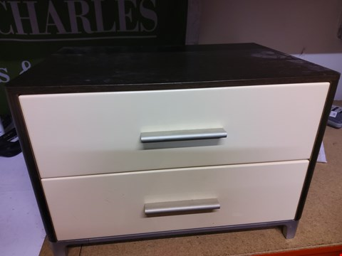 Lot 11 2 DRAWER DARK WOOD & CREAM EFFECT BEDSIDE CABINET