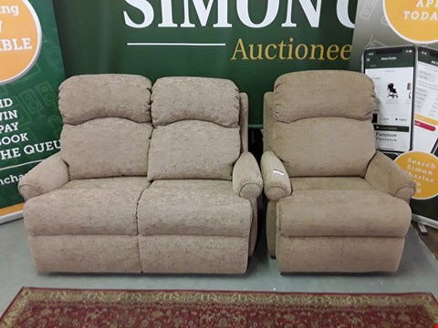 Lot 8006 QUALITY DESIGNER BRITISH MADE WOODEN FRAME LIGHT BROWN FABRIC 2 SEATER SOFA AND MATCHING ARMCHAIR