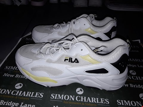 Lot 9044 FILA DESIGNER TRAINERS IN YELLOW & WHITE UK SIZE 4.5