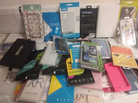 Lot 1107 BOX OF APPROXIMATELY 42 ASSORTED PHONE CASES AND SCREEN PROTECTORS ETC