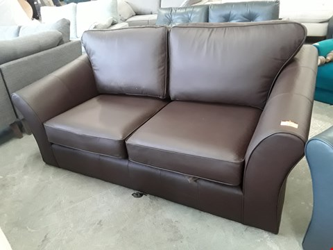 Lot 136 QUALITY BRITISH DESIGNER BROWN LEATHER 3 SEATER SOFA