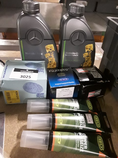 Lot 3025 APPROXIMATELY EIGHT ITEMS, INCLUDING, 2 × MERCEDES 5W 30 1 LITRE OIL, 3 × OIL FOLTERS & 3 × TUBES COPPER GREASE