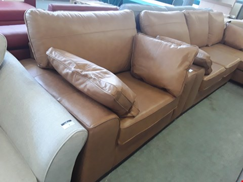 Lot 3 QUALITY BRITISH DESIGNER TAN LEATHER EASY CHAIR
