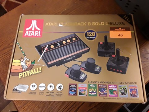 Lot 43 BOXED ATARI FLASHBACK 8 GOLD DELUXE GAMES CONSOLE WITH 120 BUILT IN GAMES
