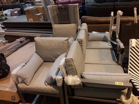 Lot 9095 GREY METAL GARDEN SET CONSISTING OF: THREE SEATER SOFA, TWO ARMCHAIRS AND TABLE PARTS