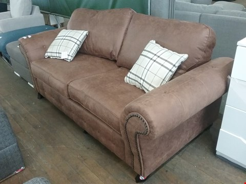 Lot 8 OAKLAND 3 SEATER BROWN SOFA RRP £450