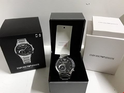 Lot 2 EMPORIO ARMANI CONNECTED SILVER STAINLESS STEEL HYBRID SMARTWATCH RRP £390