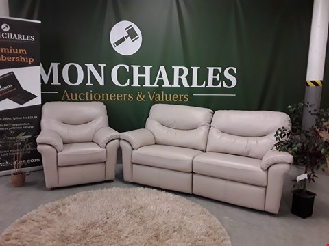 Lot 3015 QUALITY BRITISH MADE MUSHROOM LEATHER POWER RECLINING 3 SEATER SOFA AND POWER RECLINING ARMCHAIR