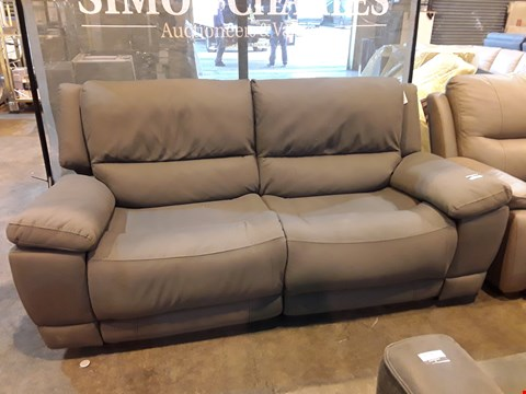Lot 9067 DESIGNER GREY MACAO FABRIC POWER RECLINING THREE SEATER SOFA WITH FEATURED STITCHING