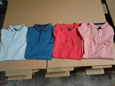 Lot 9316 BOX OF APPROXIMATELY 34 ASSORTED MEN'S CLOTHING ITEMS TO INCLUDE FLINTOFF POLO - LIGHT BLUE, BL TRIM CUFF POLO - TEAL, BL PRTD POLO - RED, VOI BEACH RED POLO - RED