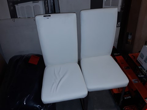 Lot 632 2 WHITE FAUX LEATHER DINING CHAIRS