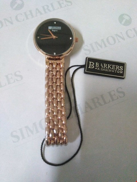 Lot 37 BRAND NEW BOXED BARKERS OF KENSINGTON REGATTA BLACK FACE ROSE GOLD WRIST WATCH RRP £505.00