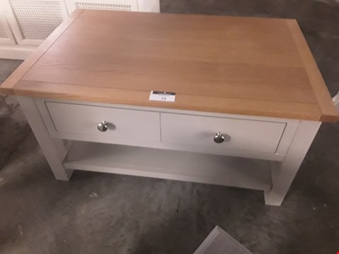 Lot 73 DESIGNER GREY/OAK RECTANGULAR COFFEE TABLE FITTED DRAWER