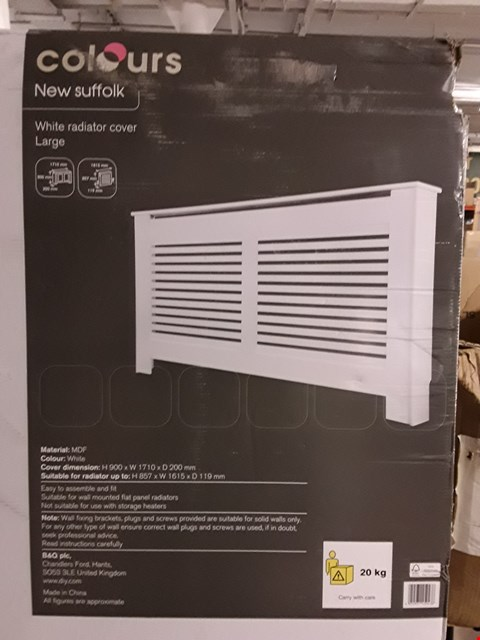 Lot 3176 COLOURS NEW SUFFOLK WHITE RADIATOR COVER - WHITE H900 X W1710 X D200 MM