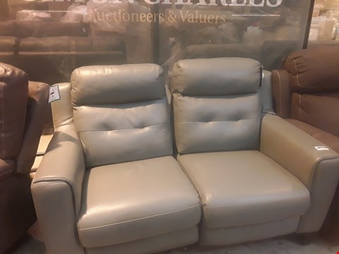 Lot 9142 DESIGNER GREY LEATHER POWER RECLINING TWO SEATER SOFA