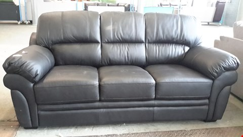 Lot 8 DESIGNER BLACK FAUX LEATHER 3 SEATER SOFA