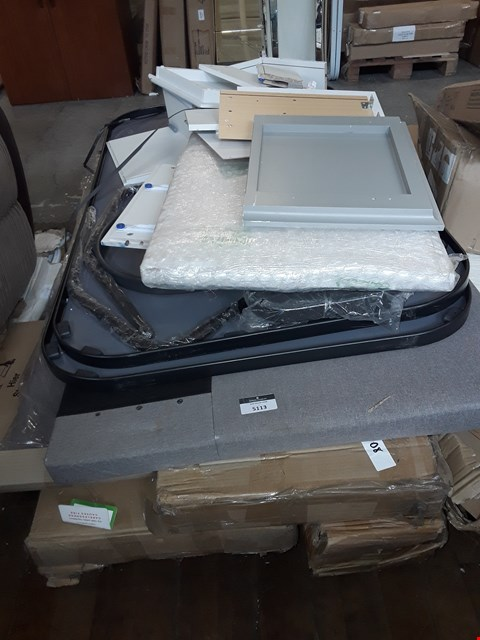 Lot 5113 PALLET OF ASSORTED ITEMS TO INCLUDE GARDEN TABLE PARTS, FLAT PACK FURNITURE AND BED PARTS