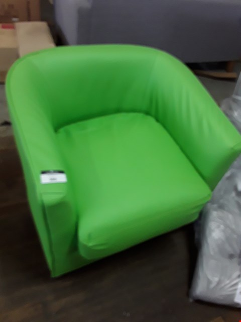 Lot 380 DESIGNER GREEN FAUX LEATHER TUB CHAIR  RRP £249