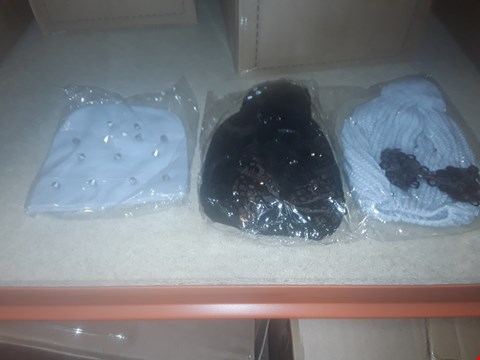 Lot 1105 BOX OF APPROXIMATELY 70 ASSORTED BRAND NEW HATS TO INCLUDE KITTED BOBBLE HATS HOBBS AND BEANIES