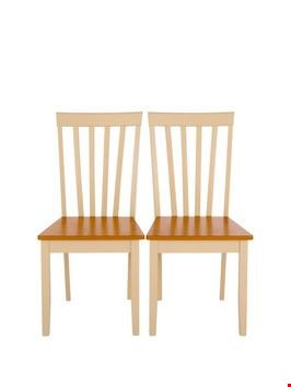 Lot 92 PAIR MOLLY OAK/CREAM DINING CHAIRS RRP £150